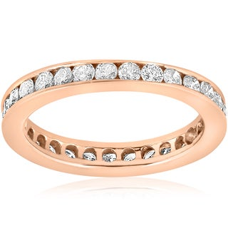 14K Rose Gold 1 CT TDW Diamond Channel Set Eternity Wedding Ring (I-J, I2-I3)
