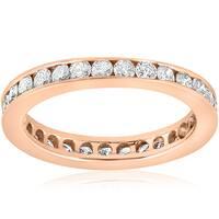 14K Rose Gold 1 CT TDW Diamond Channel Set Eternity Wedding Ring (I-J, I2-I3)