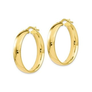 10k Yellow Gold Italian Polished Hoop Earrings