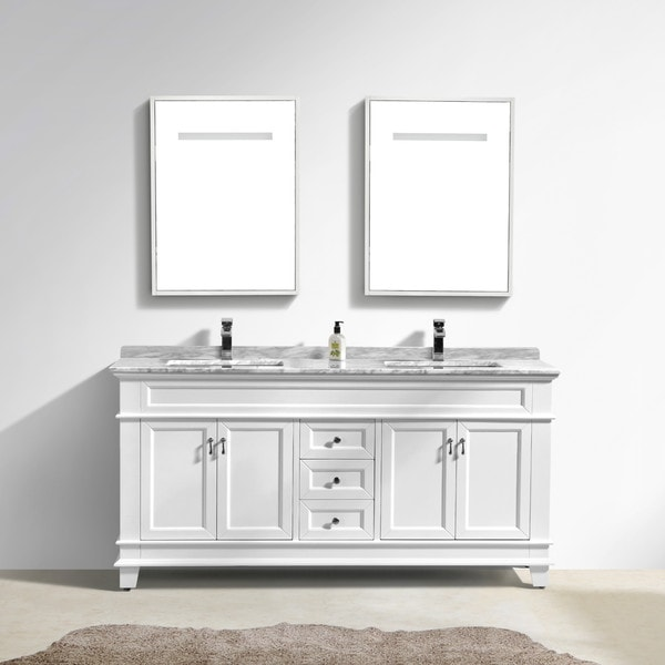 bathroom vanity 72 double sink. Moreno Fayer 72  Double Sink White Bathroom Vanity With Carrara Marble Top