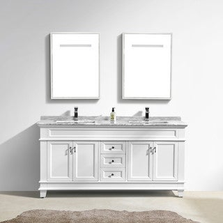 """Moreno Fayer 72"""" Double Sink White Bathroom Vanity With Carrara Marble Top"""