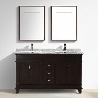 Moreno Bath Fayer 60 Inch Free Standing Double Sink Espresso Bathroom Vanity With Carrara Marble Top