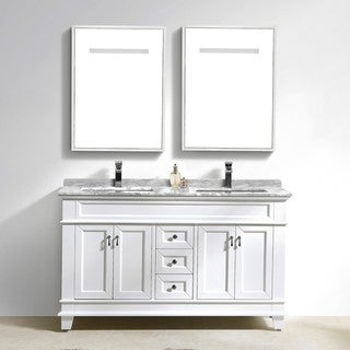 Moreno Bath Fayer 60 Inch Free Standing Double Sink White Bathroom Vanity With Carrara Marble Top