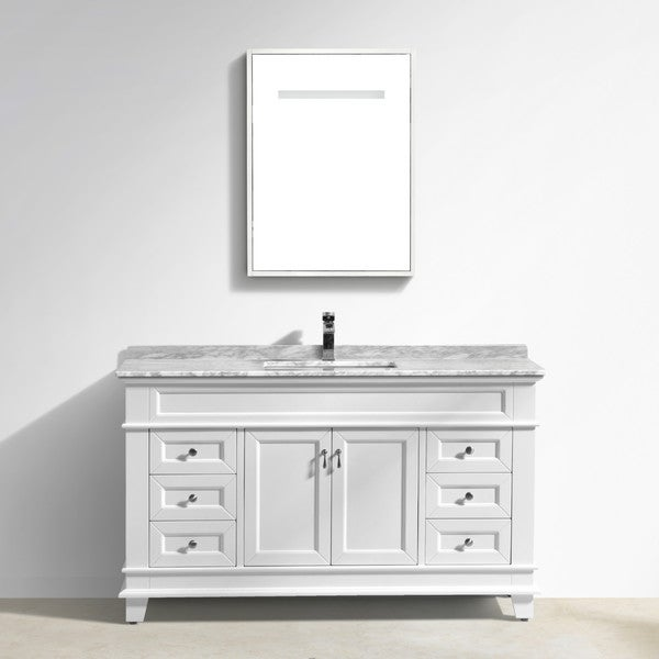 Moreno Bath Fayer 60 Inch Free Standing Single Sink White Bathroom Vanity With Carrara Marble Top
