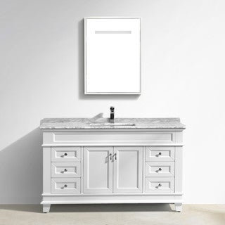 "Moreno Fayer 60"" Single Sink White Bathroom Vanity With Carrara Marble Top"