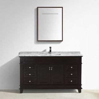 """Moreno Fayer 60"""" Single Sink Espresso  Bathroom Vanity With Carrara Marble Top"""