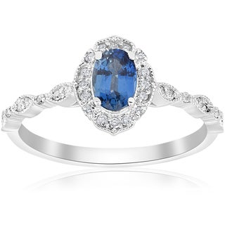 14K White Gold 3/4 ct TDW Blue Sapphire & White Diamond Vintage Halo Antique Filigree Engagement Ring (I-J,I2-I3)