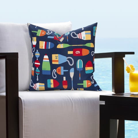 Siscovers Indoor - Outdoor Buoy Nautical Throw Pillow