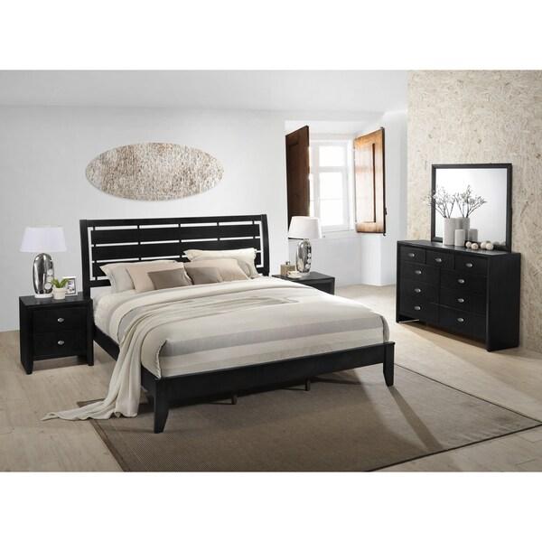 Gloria 350 Black Finish Wood Bed Room Set, King Bed, Dresser, Mirror, 2 Night Stands