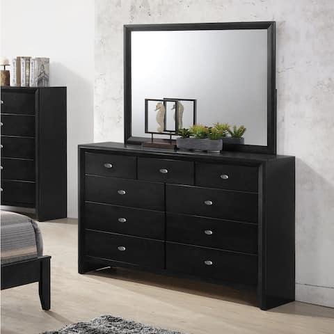 Gloria 350 Black Finish Wood Dresser and Mirror