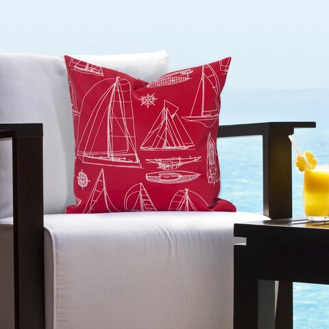 Siscovers Regatta Red Indoor - Outdoor Accent Pillow