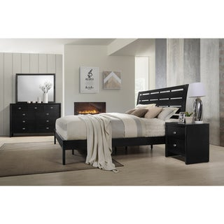 Gloria 350 Black Finish Wood Bed Room Set, King Bed, Dresser, Mirror, Night Stand