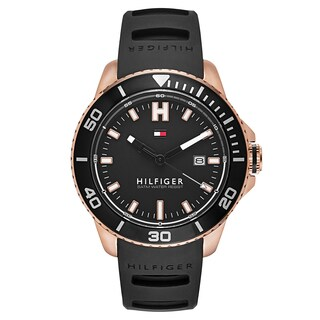 Tommy Hilfiger Men's Wade Stainless Steel Rose Gold Plated Black Japanese Swiss Quartz Watch
