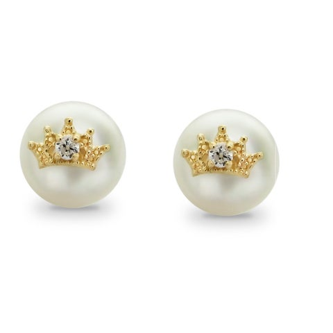 DaVonna 14k Yellow Gold Crown Charms 9-10mm Button Shape Freshwater Pearl Stud Earrings.