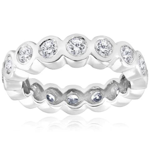 14k White Gold 2 cttw Diamond Bezel Infinity Eternity Wedding Ring (I-J, I2-I3)