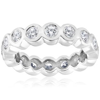 14k White Gold 2 cttw Diamond Bezel Infinity Eternity Wedding Ring (I-J, I2-I3)