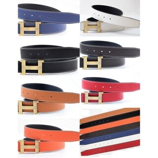 Unisex Reversible Leather Belt With Removable Buckle