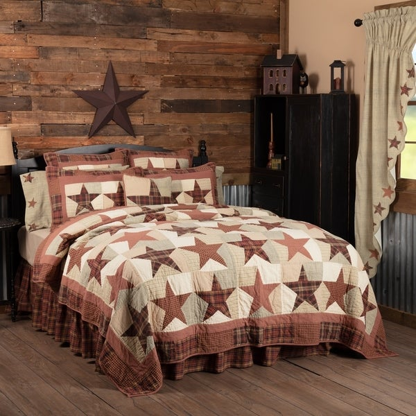 Red Country Bedding VHC Abilene Star Quilt Cotton Star Patchwork