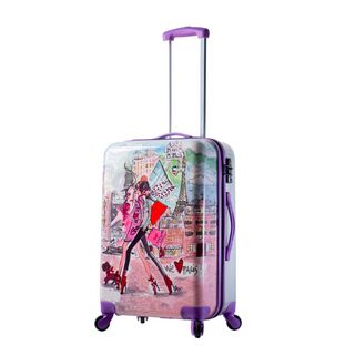 Mia Toro ITALY Izak-Paris 24-inch Purple Fashion Hardside Spinner Suitcase
