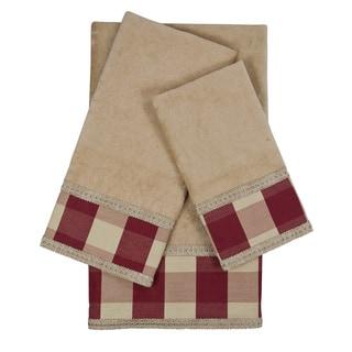 Sherry Kline Holbrook Checkered Gimp Red Decorative Embellished Towel Set