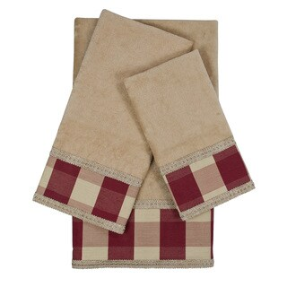 Sherry Kline Holbrook Checkered Gimp Red Decorative Embellished Towel Set