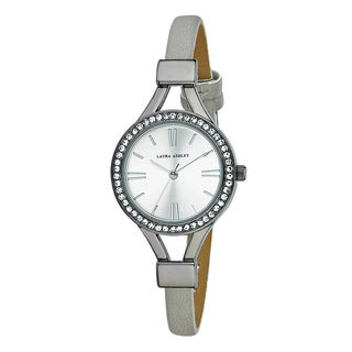 Laura Ashley Ladies Gun Metal Thin Strap Silver Case Crystal Bezel Watch