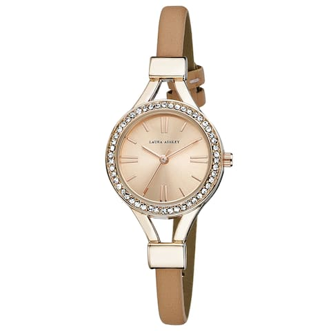 Laura Ashley Ladies Pink Thin Strap Rose Gold Case Crystal Bezel Watch - Rose Gold