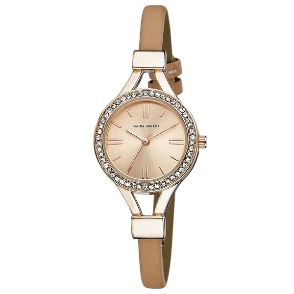 328de3e07 Laura Ashley Ladies Pink Thin Strap Rose Gold Case Crystal Bezel Watch -  Rose Gold