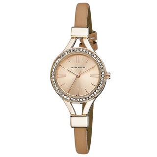 Laura Ashley Ladies Pink Thin Strap Rose Gold Case Crystal Bezel Watch