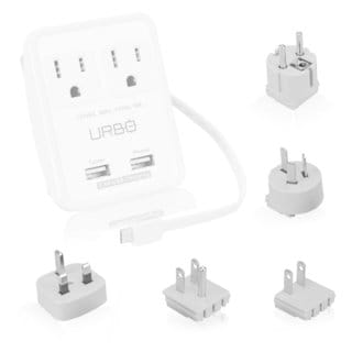 Urbo World Traveler's Multi-Port Wall Charger with International Adapter Plugs & Integrated Micro-USB Cable