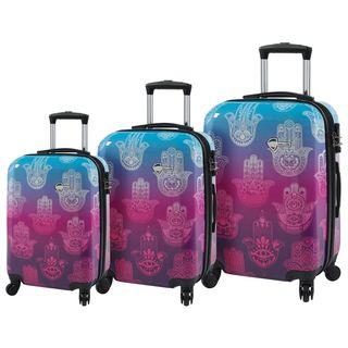 Mia Toro ITALY Love This Life Hamsa 3-piece Hardside Spinner Luggage Set