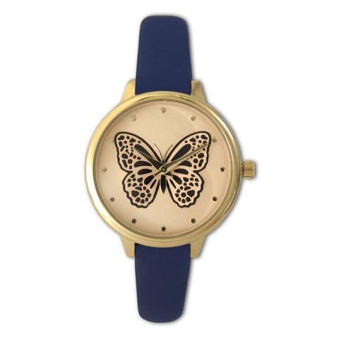 Olivia Pratt Women's Gold tone Butterfly Leather Watch One Size