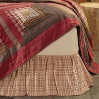 White Rustic Bedding VHC Tacoma Bed Skirt Cotton Plaid Gathered