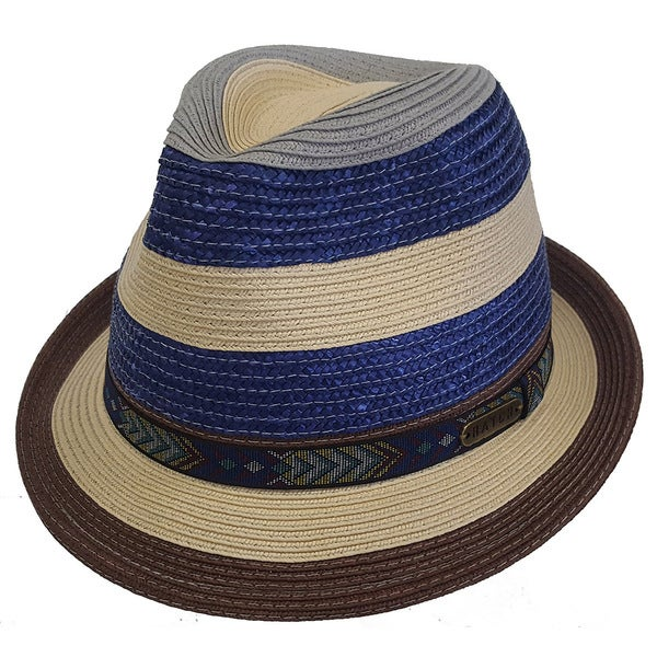 9aaeb56cd Hatch Stripe - Crushable Snap Brim Braided Paper Straw Fedora Hats for Women