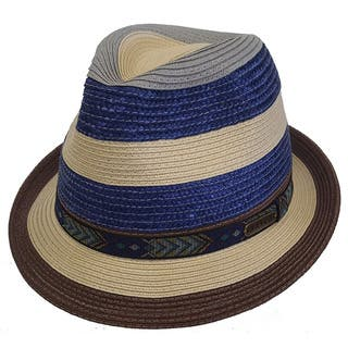 fc05b1eff19 Hatch Stripe - Crushable Snap Brim Braided Paper Straw Fedora Hats for Women