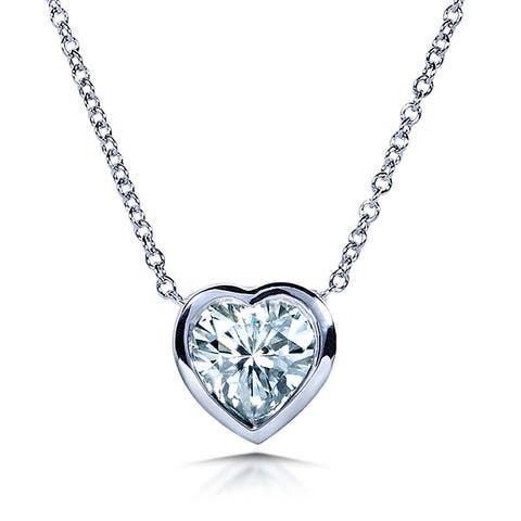 Annello by Kobelli 14k White Gold 1 Carat Solitaire Heart-shape Moissanite (H-I) Soldered Bezel Necklace