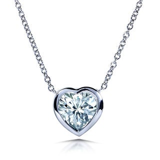 Annello by Kobelli 14k White Gold 1 Carat Solitaire Heart-shape Moissanite (H-I) Soldered Bezel Necklace