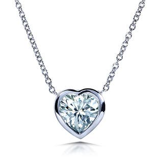 Annello by Kobelli 14k White Gold 1 Carat Solitaire Heart-shape Moissanite (H-I) Soldered Bezel Necklace|https://ak1.ostkcdn.com/images/products/15617477/P22050847.jpg?impolicy=medium