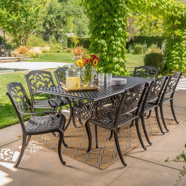 Abigal Outdoor Multi-piece Shiny Copper Finish Cast Aluminum Dining Set  with Leaf by Christopher - Shop Abigal Outdoor Multi-piece Shiny Copper Finish Cast Aluminum