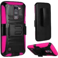Insten Hard PC/ Silicone Dual Layer Hybrid Case Cover with Holster For LG Stylo 2 Plus MS550