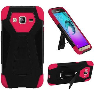 Insten Hard PC/ Silicone Dual Layer Hybrid Case Cover with Stand For Samsung Galaxy Amp Prime/ J3 (2016)