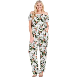 Xehar Women's Plus Size Sexy Off Shoulder Floral Jumpsuit Romper