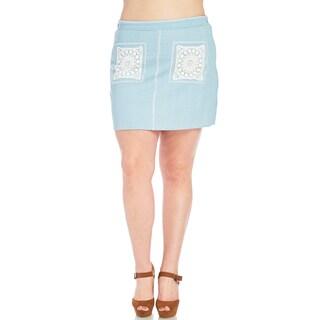 Xehar Women's Plus Size Casual Crochet Panel Denim Short Mini Skirt