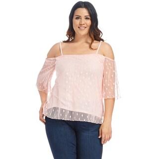 Xehar Women's Plus Size Sexy Polka Dot Mesh Off Shoulder Blouse Top