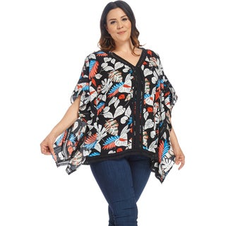 Xehar Women's Plus Size Casual Leaf Printed Loose Poncho Blouse Top