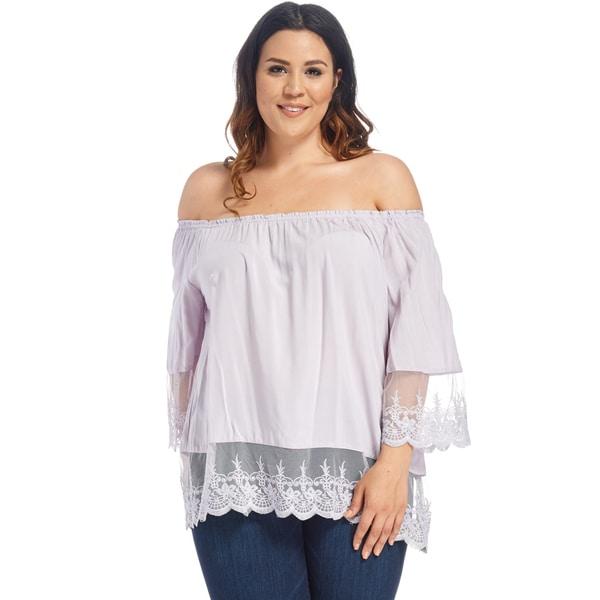 b06f123d0d868b Xehar Women  x27 s Plus Size Casual Off Shoulder Lace Blouse Shirt Tops