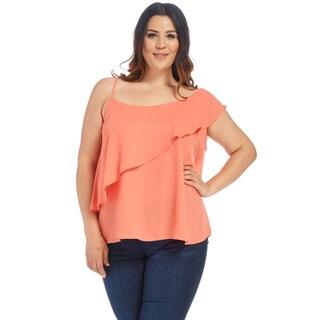 Xehar Women's Plus Size Sexy One Shoulder Ruffle Blouse Shirt Tops