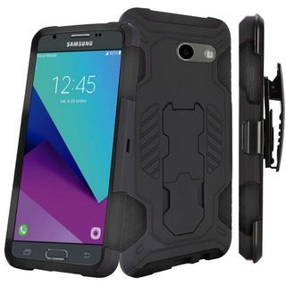 Insten Black Hard PC/ Silicone Case For Samsung Galaxy Amp Prime 2/ Express Prime 2/ J3 (2017)/ J3 Eclipse/ J3 Emerge