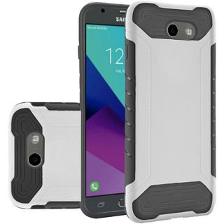 Insten White/ Black Hard Snap-on Dual Layer Hybrid Case Cover For Samsung Galaxy J3 (2017)