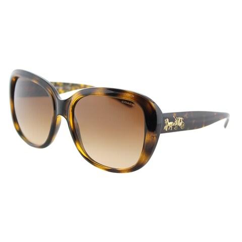 Coach HC 8207 539413 L1634 Dark Tortoise Plastic Square Sunglasses Brown Gradient Lens